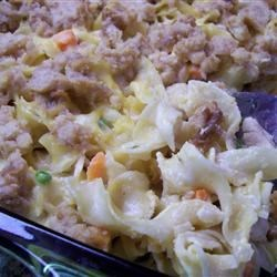 Chicken Casserole Mississippi Recipe - A filling chicken and noodle casserole with a rich sour cream-cracker crust.