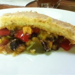 Double Crust Bean Pie Recipe - Black beans, cheese, bell peppers, onion and  spices baked between 2 pie crusts.