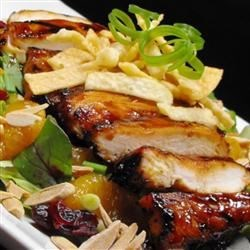Grilled Wonton Chicken Salad Recipe - Great for summer! Crispy fried wonton strips and grilled chicken top lettuce, almonds, sesame seeds, and mandarin oranges; finished with a delicious green onion-based dressing.