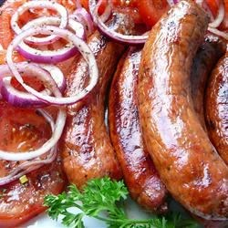 Grilled Italian Sausage with Marinated Tomatoes Recipe - This sandwich is a tasty way to serve Italian sausages.  It is a Friday night regular for my family.