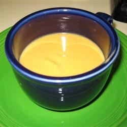 Sweet Potato Soup Recipe - Sweet potatoes, white potatoes and a turnip are cooked in a mixture chicken broth and heavy cream seasoned with brown sugar and nutmeg in this pureed soup.