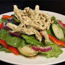 Fresh Chicken Salad with Baby Greens Recipe - This is a very delicious salad that will fill you up by itself, or it can be served on the side. Perfect with leftover chicken breast.