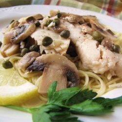Tilapia Scaloppine Recipe - Tilapia, always quick and easy to cook, gets an Italian update with capers and fresh mushrooms.