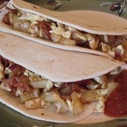 Bacon, Potato, and Egg Taco Ole