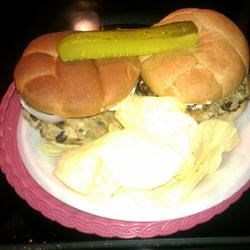 Mozzarella-Stuffed Turkey Burgers Recipe - These burgers, made with ground turkey, are filled with black beans, red bell pepper, and mozzarella cheese.