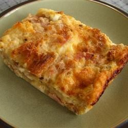 French Ham Cheese and Egg Fondue Casserole