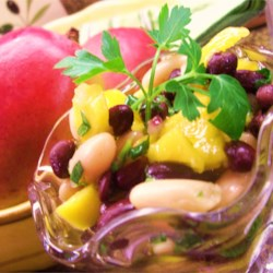 Two-Bean and Mango Salad Recipe - Although it may sound like an odd combination of foods, at least it did to me at first, it is a tasty and hearty salad. You may want to alter the dressing and onion amounts to your taste.