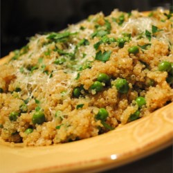 Quinoa with Peas Recipe - Seasoned with Pecorino Romano cheese, this is a delicious quinoa side dish that goes with just about anything.