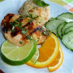 Tropical Grilled Chicken Breast Recipe - These grilled chicken breasts are marinated in a simple citrus marinade made with lime, orange juice, honey, and red pepper flakes.
