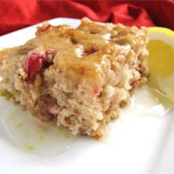 Rhubarb Spice Cake with Lemon Sauce Recipe - My mother got this recipe back in the 1950's from the minister's wife. It's been a family favorite ever since.