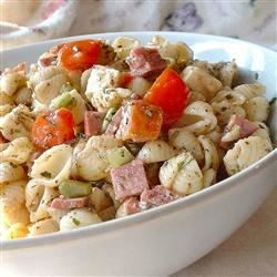 Antipasto Pasta Salad Recipe and Video - A nice balsamic vinegar and oil mixture with oregano, parsley and Parmesan whipped in. It compliments this hearty salad, with its robust ingredients - salami, pepperoni, Asiago cheese and lots of tomatoes. Makes twelve magnificent servings.