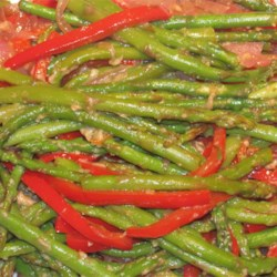 Asparagus and Red Pepper with Balsamic Vinegar Recipe - A bright and flavorful vegetable side dish with asparagus, red bell pepper, and red onion, that even vegetable haters will enjoy.