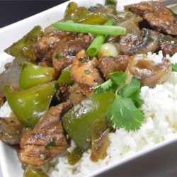 Chicken with Green Peppers in Black Bean Sauce Recipe - A flavorful black bean sauce is the base for this simple and classic dish.