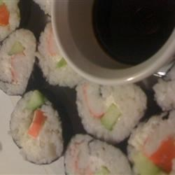Cream Cheese and Crab Sushi Rolls Recipe - Delicious and surprisingly simple sushi rolls with imitation crab, cream cheese and cucumber.