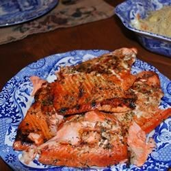 Heather's Grilled Salmon Recipe - A simple marinade of brown sugar and soy sauce is jazzed up with the addition of lemon pepper and some dried herbs. Grilled salmon never tasted so good!