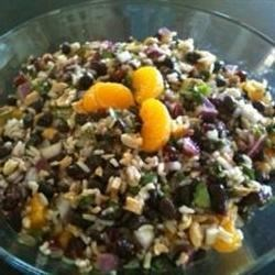 Black Bean and Wild Rice Salad Recipe - I love this cold salad as a light lunch or dinner, or as a side dish in the summer or fall. The orange and herb vinaigrette is really delicious!