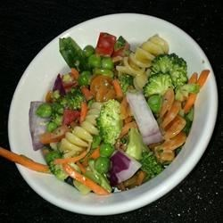 Hope's Colorful Pasta Salad Recipe - A colorful pasta salad, packed with veggies, makes a wonderful side at any BBQ. This batch serves a crowd.