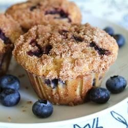 To Die For Blueberry Muffins Recipe - Extra big blueberry muffins are topped with a sugary-cinnamon crumb mixture in this souped-up blueberry muffin recipe.