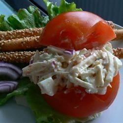 Imitation Crab Salad Recipe - This is a crab salad made with a bread filler.
