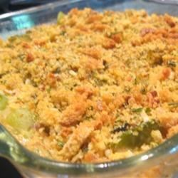Country Squash Casserole Recipe - Fresh squash, bell pepper and onion are given an extra boost of flavor and texture from cornbread stuffing mix.