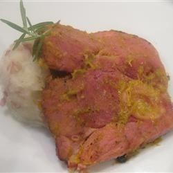 Mango and Pineapple Glazed Ham Steak with Roasted Garlic Mashed Red Potatoes