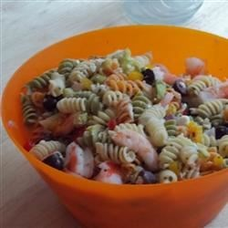 Greek Pasta Salad with Shrimp, Tomatoes, Zucchini, Peppers, and Feta