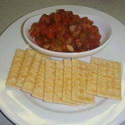 Eggplant Antipasto Recipe - This dish is easy to prepare and freezes well. Baked eggplant is mixed with an array of vegetables and flavors. Serve with crackers or pita bread.