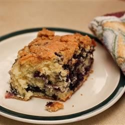 Blueberry Buckle II Recipe - A cake flecked with blueberries and topped with a cinnamon crumble topping -- an easy dessert made from scratch.
