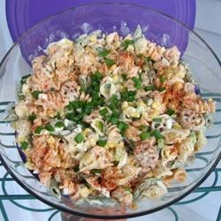 Nell's Macaroni Salad Recipe - Pure comfort food for a crowd. This macaroni salad with all the fixings  - celery, corn, green onion and hard-boiled eggs - has a terrific, creamy dressing that clings to every bite. Makes twelve servings.