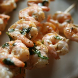 Grilled Marinated Shrimp Recipe - This makes the best shrimp! Remove from skewers and serve on a bed of pasta with sauce for a great meal.