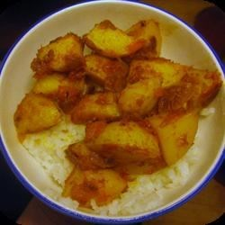 Aloo Phujia over White Rice