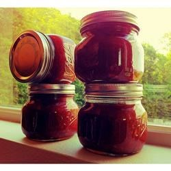 "Easy Apple Rhubarb Jam Recipe - ""Although apple-rhubarb jam may sound weird, it is amazingly delicious! You can substitute strawberries for the apples to make strawberry-rhubarb jam."""