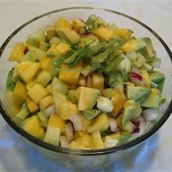 Avocado Pineapple Salad Recipe - The perfect summer salad of fresh pineapple and ripe avocado to go with your favorite grilled recipes, or serve it with chips as a spicy salsa.