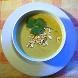 Jennifer's Thai Curried Peanut Soup Recipe - Peanut and curry are blended together for a very unique and creamy textured soup. It goes great with some warm sourdough bread and a light salad.