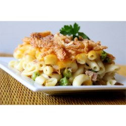 Easy Tuna Casserole Recipe and Video - Tuna, macaroni, creamy soup, cheese and fried onions are all you need to make this super easy tuna casserole that I learned from my roommate. It's great as leftovers, too.