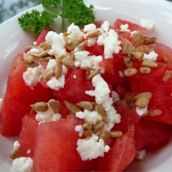 Easy Watermelon Salad Recipe - Watermelon, feta cheese, and sunflower seeds are all you need to make this refreshing salad.