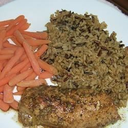 Balsamic Chicken   Recipe - A sweet, tangy balsamic vinegar marinade gives pan-fried chicken breasts flavor and color. The marinade is cooked into a sauce for the chicken.