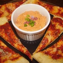 Pizza Dip Recipe - Great dip for parties or for snacks for the family. Easy to prepare. Serve with pita bread chips, crackers, or even a thin sliced baguette.