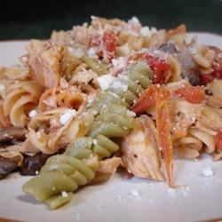 Chicken Pasta I Recipe - A wonderful change in light eating with pasta, chicken and vegetables. It is very low in fat and calories, but tastes delicious. Use your favorite pasta - we use mostaccioli pasta. Add some of your favorite veggies, if desired.