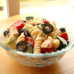 Yummy Pasta Salad Recipe - This recipe uses salad dressing to add flare to an ordinary pasta salad. It's great hot or cold and makes wonderful leftovers... if you manage to have any!