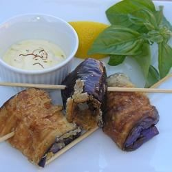 Pan Fried Eggplant with Saffron Mayonnaise Recipe - These mouth watering eggplant rolls can be served as tapas or as a side dish. Serve alongside a crusty bread for a hearty appetizer.