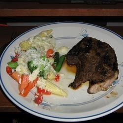 Lamb with Side of Cheesed Veggies