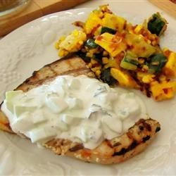 Grilled Swordfish Steaks with Cucumber Sauce