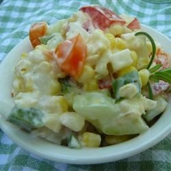 Cold Corn Salad Recipe - Cold salad is made with corn and peppers. You will be proud to take with you for any holiday occasion!