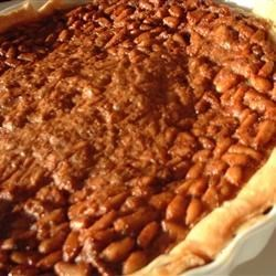 Pignoli Nut Pie Recipe -  The creamy white pine nut lends its sweet rich flavor to a pie that is very much like a pecan pie. Lots of sugar -both brown and white - and eggs, butter, flour and cream are stirred together. Then the mixture is combined with the nuts, poured into a waiting crust, and baked until set and golden.