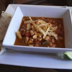 Mexican Bean and Squash Soup Recipe - Winter squash teams up with cannellini beans and chipotle chile peppers, chopped carrots, celery, onions, basil, parsley, and corn to make a zesty vegetable soup topped with tortilla chips, sour cream, and Mexican blend cheese. Adjust the heat level to taste by decreasing or leaving out the chipotle peppers.