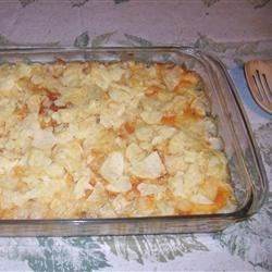 Potato Chip Casserole Recipe - Ground beef, corn, green beans are baked in a creamy sauce and topped with cheese and potato chips for a well-rounded meal.