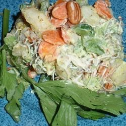 Baked Potato Salad with Dill Recipe - The mayonnaise dressing is great; mustard and curry powder make the difference. There are also some surprise ingredients in the salad  - bean sprouts, walnuts, radishes and dill. Makes four generous servings.