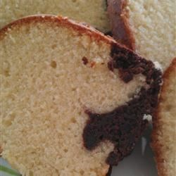 Light Marble Pound Cake Recipe - This marbled vanilla and chocolate poundcake is lightened up with applesauce to give it the moistness that makes a great poundcake so delicious.
