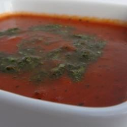 Tomato Basil Soup I Recipe - Fresh tomatoes are simmered with tomato paste, white wine and dried basil in this quick soup.